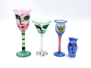 Group of Kosta Boda UH Vallien 'Open Mind' Vases/Goblets