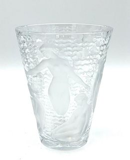 """Lalique Molded and Frosted Glass Vase, """"Ondines"""""""