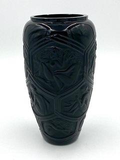 """Lalique Premier Edition Vase, """"Hesperides """" Black"""