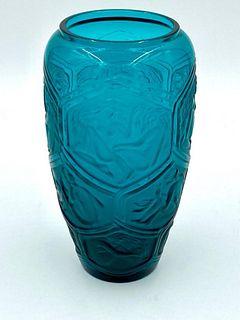 """Lalique """"Hesperides"""" Vase, Teal Blue"""
