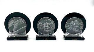 Three Lalique Cristal US Olympic Medallions
