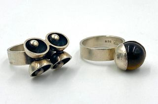 Two Elis Kauppi For Kupittaan Kulta Sterling Rings