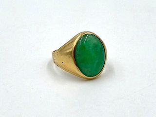 14K Gold and Jade Ring