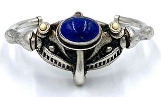 Silver and Lapis Cuff Bracelet