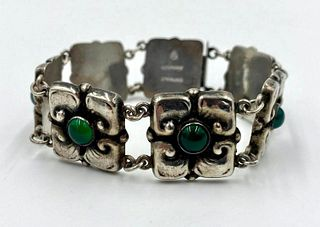 Danish Silver and Chrysoprase Bracelet