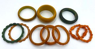 Lot of 10 Bakelite Bangle Bracelets