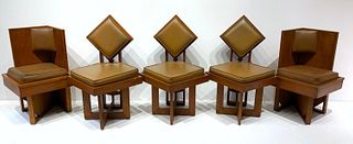 A Set of Six Frank Lloyd Wright Style Oak Dining Chairs