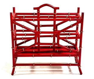 Tole Peinte Bamboo Form Magazine Rack