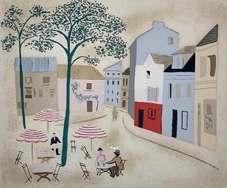 "Jean Hugo Screenprint ""Place du Tertre"""
