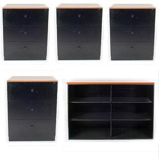 Lote de librero y 4 archiveros. Siglo XXI En talla de madera y metal. Archiveros con cubierta rectangular y 3 cajones.  Piezas: 5