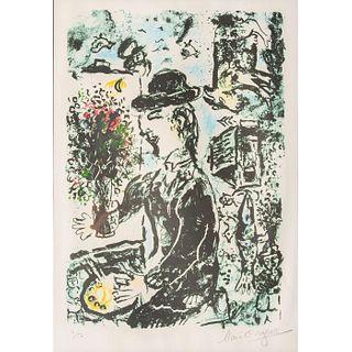 Marc Chagall Signed Lithograph Le Peintre Au Chapeau
