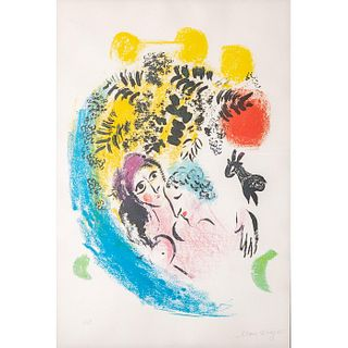 Marc Chagall Signed Lithograph Lovers with Red Sun