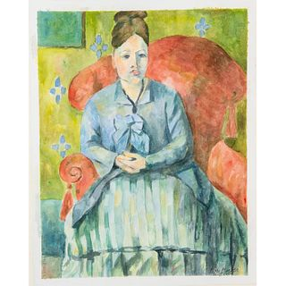 After Paul Cezanne, Framed Watercolor, Madame Cezanne