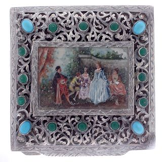 Italian Silver and Enamel Painted Compact