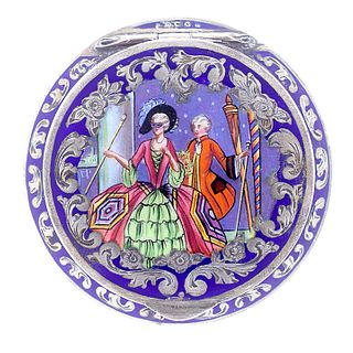 Austrian Silver Enameled Compact