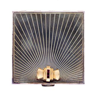 Sterling and 14 kt Gold Tiffany Compact Powder Box