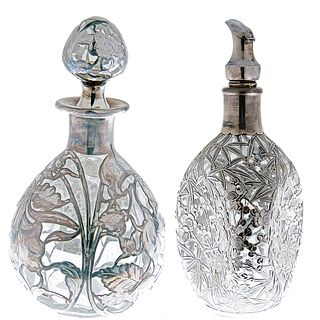 Two Silver Overlay Bottles