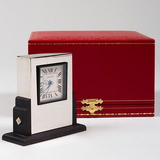 Cartier Art Deco Style Steel and Ebonized Wood 'Pendulette Basculante' Desk Clock