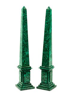 A Pair of Large Malachite Obelisks Height 31 inches.