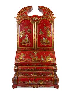 A George II Style Parcel-Gilt and Red Lacquer Chinoserie Secretary Height 98 x width 55 x depth 26 inches.