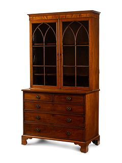 A Regency Style Mahogany Secretary Bookcase Height 81 x width 43 x depth 22 inches.