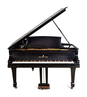 A Steinway & Sons Ebonized Model A Salon Grand Piano Height 39 1/2 (closed) and length 72 inches.