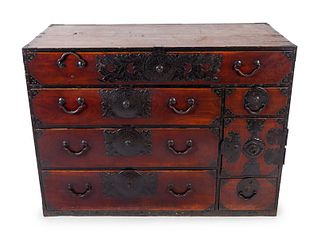 A Japanese Iron Mounted Tansu Chest Height 35 1/2 x width 48 x depth 22 inches.