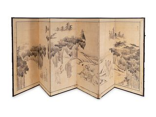 A Japanese Six-Fold Paper Screen Each panel, 60 x 23 1/4 inches.