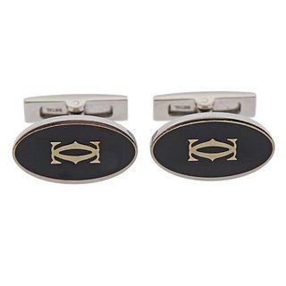 Cartier Sterling Silver CC Enamel Cufflinks