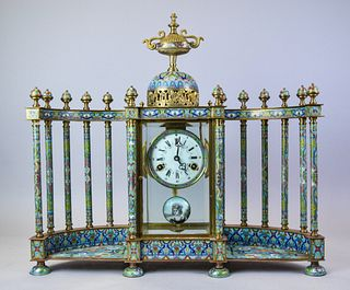French Style Chinese Cloisonne Colonnade Clock