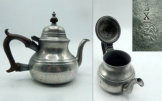 English Queen Anne Pewter Teapot by John Townsend