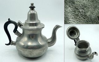 English Queen Anne Pewter Teapot