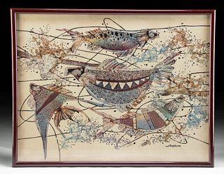Vintage Signed & Framed M. Yono Batik Painting of Fish