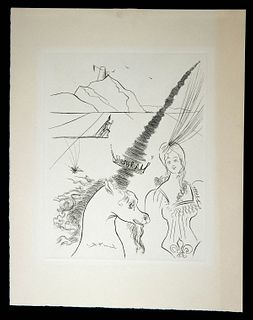 Salvador Dali Etching - The Lady and the Unicorn, 1960s