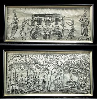 Two Vintage Chinese Rubbings, Temple & Paradise Scenes