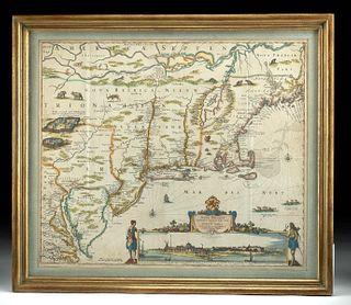 Dutch Nicolaes Visscher I Map of New Amsterdam, ca 1690