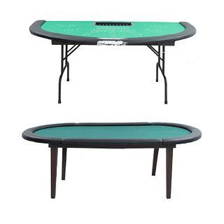 Lote de 2 mesas de juego. Siglo XXI. Diferentes diseños. En madera, metal, aglomerado y material sintético. 72 x 210 x 106 cm (mayor)