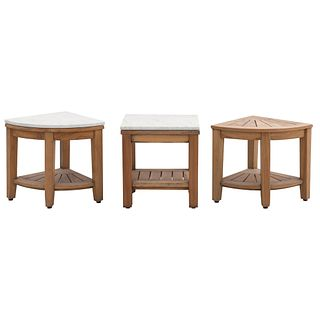 Juego de 3 esquineros. Siglo XX. Elaborados en madera. Consta de: Esquinero con cubierta rectangular de mármol. Otros.