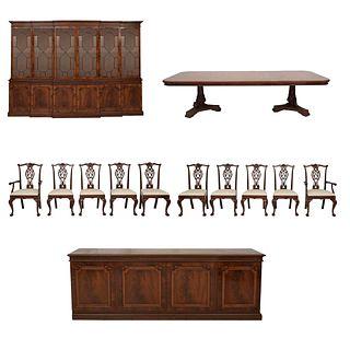 Comedor. SXX. Elaborados en madera tallada y enchapada de raíz. Consta de: a) Mesa, vitrina, trinchador, par de sillones y 8 sillas.