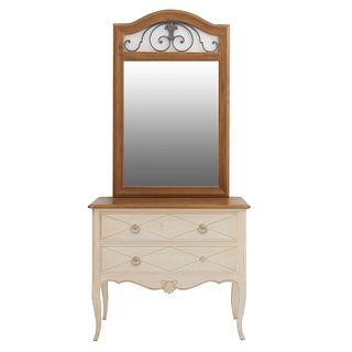 Cómoda con espejo (coqueta). Siglo XX. Elaborado en madera. Con espejo rectangular biselado, cubierta rectangular, 2 cajones.