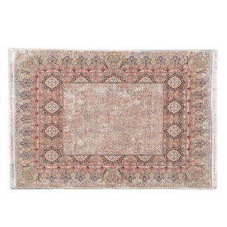 Tapete. Siglo XX Estilo persa. En fibras sintéticas. Decorado con elementos, florales, orgánicos, geométricos y medallones. 96 x 144 cm
