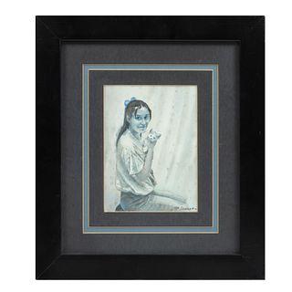 EDGARDO COGHLAN. La muchacha del gatito. Acuarela. Firmada y fechada 1994.  Con certificado adherido de la galería Nina Moreno.