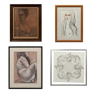 Lote de 4 obras pictoricas. Consta de: Diego Loza. Desnudo. Firmado y fechado 2007. Pastel sobre papel. 42 x 30 cm. Otros.