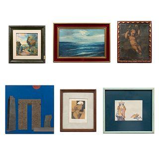 Lote de 6 obras. Consta de: Mario Reyes. Mujer Así. Firmado. Grabado 5/25. 11 x 8.5 cm Otros.