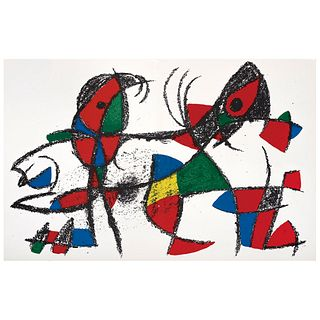 JOAN MIRÓ (Barcelona, España, 1893 - Palma de Mallorca, España, 1983) Litografía original X, de la suite de 12 litografías.