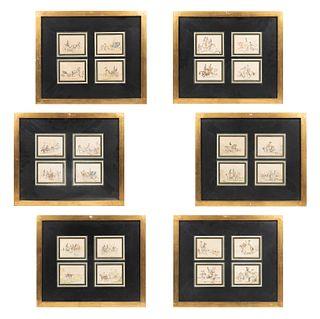 Lote de 6 miniaturas. Siglo XX.  Litografías. Temas de caza. Enmarcadas. Detalles de conservación.