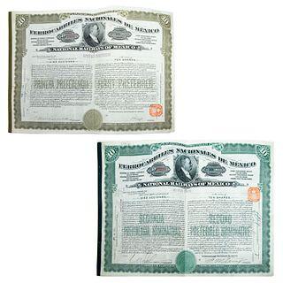 Lote de 2 bonos de Ferrocarriles Nacionales de México. Números F4779 y P56210. Con 10 acciones cada uno.