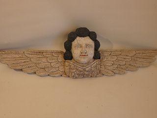 CARVED WOOD ANGEL PLAQUE