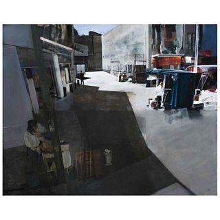 JOSÉ CASTRO LEÑERO, Ciudad laberinto, Firmado al frente y al reverso, Acrílico sobre tela, 120 x 150 cm, Con certificado