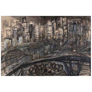 FANNY RABEL, Una ciudad muy bien comunicada, serie Réquiem por una ciudad, Firmada y fechada 1980, Tinta y gouache/papel, 80 x 120 cm